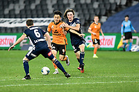 29th July 2020; Bankwest Stadium, Parramatta, New South Wales, Australia; A League Football, Melbourne Victory versus Brisbane Roar; Danny Kim of Brisbane Roar runs at Macaulay Gillesphey of Brisbane Roar as Jay Barnett of Melbourne Victory attempts to hold him back