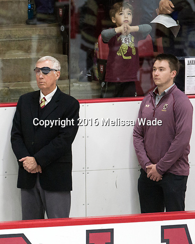 Jerry York (BC - Head Coach), Brian Hurley (BC - Student Manager) - The Harvard University Crimson defeated the visiting Boston College Eagles 5-2 on Friday, November 18, 2016, at the Bright-Landry Hockey Center in Boston, Massachusetts.