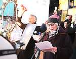 Brian Stokes Mitchell and Betty Buckley attend The Ghostlight Project to light a light and make a pledge to stand for and protect the values of inclusion, participation, and compassion for everyone - regardless of race, class, religion, country of origin, immigration status, (dis)ability, gender identity, or sexual orientation at The TKTS Stairs on January 19, 2017 in New York City.