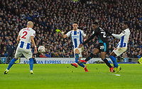 West Bromwich Albion's Jonathan Leko (centre) crosses the ball crosses the ball despite the attentions of Brighton & Hove Albion's Beram Kayal (left) <br /> <br /> Photographer David Horton/CameraSport<br /> <br /> Emirates FA Cup Fourth Round - Brighton and Hove Albion v West Bromwich Albion - Saturday 26th January 2019 - The Amex Stadium - Brighton<br />  <br /> World Copyright © 2019 CameraSport. All rights reserved. 43 Linden Ave. Countesthorpe. Leicester. England. LE8 5PG - Tel: +44 (0) 116 277 4147 - admin@camerasport.com - www.camerasport.com