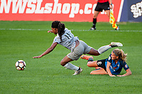 Kansas City, MO - Thursday August 10, 2017: Taylor Smith, Katie Bowen during a regular season National Women's Soccer League (NWSL) match between FC Kansas City and the North Carolina Courage at Children's Mercy Victory Field.