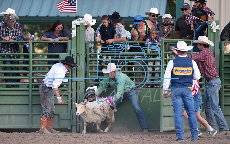 Payslee Starr, of Fallon, competes in the Mutton Bustin' portion of the Smackdown Tour Bull Riding event at Fuji Park in Carson City, Nev., on Saturday, June 7, 2014.<br />