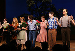 Caitlin Kinnunen, Whitney Bashor, Steven Pasquale,Kelli O'Hara, Hunter Foster and Michael X Martin during the Pre-Opening Night Curtain Call for 'The Bridges of Madison County' with special guest Author Robert James Waller at The Gerald Schoenfeld Theatre on February 19, 2014 in New York City.