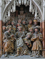Philetus released from the spell of Hermogenes when touched by the cloak of St James, from the series of the life of Saint James the Greater, 1511, high relief on the West side of the South transept in the Basilique Cathedrale Notre-Dame d'Amiens or Cathedral Basilica of Our Lady of Amiens, built 1220-70 in Gothic style, Amiens, Picardy, France. Amiens Cathedral was listed as a UNESCO World Heritage Site in 1981. Picture by Manuel Cohen