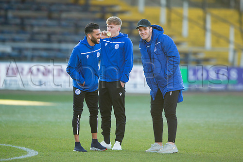 30th November 2019; Dens Park, Dundee, Scotland; Scottish Championship Football, Dundee Football Club versus Queen of the South; Faissal El Bakhtaoui, Andy McCarthy and Callum Semple of Queen of the South inspect the pitch before the match - Editorial Use