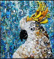 BNPS.co.uk (01202 558833)<br /> Pic: Bluebowerbird/BNPS<br /> <br /> Sulphur crested cockatoo created from upcycled plastic items.<br /> <br /> PopArt - Artist Jane Perkins recreates famous people and paintings from recycled plastic rubbish.<br /> <br /> Her stunning 'Plastic Classics' generate the most interest and sell for thousands of pounds.<br /> <br /> She has created rubbish replica's of famous paiintings by Van Gogh's, Monet, Raphael, Gustav Klimt, Salvi and Frida Kahlo as well as Japanese artist Katsushika Hokusai's the Great Wave of Kanagawa.<br /> <br /> She also creates pictures of animals for private commissions. For example, a stunning work of a tiger's head is made up of objects like plastic toy animals, golf tees and beads.<br /> <br /> Jane, a former hospital nurse from Kenton, near Exeter, Devon, now sells her work for up to &pound;2,500 a go.<br /> <br /> She said: &quot;I go to car boot sales and buy anything that is plastic, mostly toys and bits of broken jewellery, anything small. The neighbours often give me bags of bits and pieces they no longer want. <br /> <br /> &quot;People love them because they can see the whole image but also see what is in it. They can find things in them that they recognise, like little bits from their childhood.