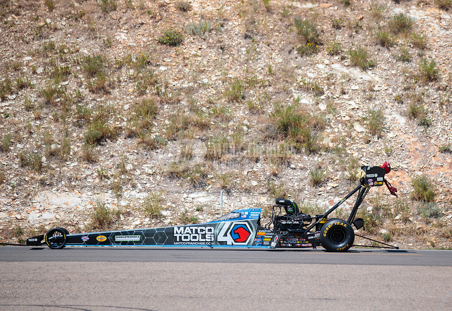 Jul 21, 2019; Morrison, CO, USA; The dragster of NHRA top fuel driver Antron Brown during the Mile High Nationals at Bandimere Speedway. Mandatory Credit: Mark J. Rebilas-USA TODAY Sports