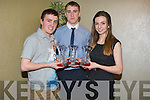 ATHLETICS: Cillian O'Donovan and Adam King (Iveragh AC,Caherciveen) and Niamh De Hora ((Farran/Maine Valley AC).who were presernted with the Kerry AAI Awards on Saturday night in The Manor  West Hotel, Tralee.