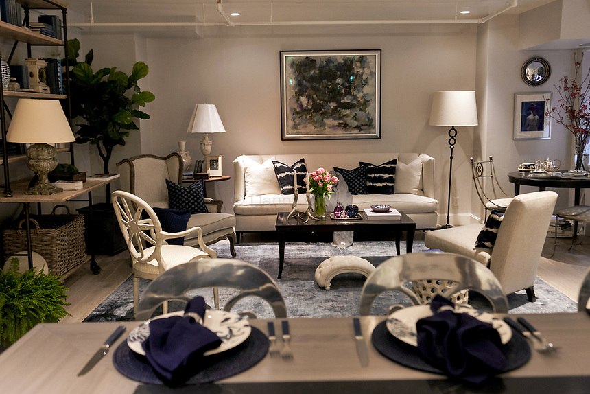 Design by Bakes and Kropp (kitchen), and Kate Singer Home (living room) at The 45th Kips Bay Decorator Show House, at 125 East 65th St. <br /> <br /> Danny Ghitis for The New York Times