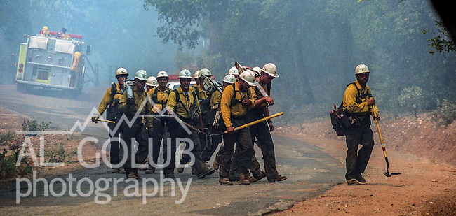 August 20, 1992 Angels Camp, California -- Old Gulch Fire— BLM Hotshot crew moves across Sheep Ranch Road to cut fire line.  The Old Gulch Fire raged over some 18,000 acres, destroying 42 homes while threatening the Mother Lode communities of Murphys, Sheep Ranch, Avery and Forest Meadows.