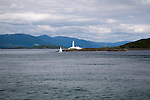 Lismore lighthouse on Eilean Musdile, Firth of Lorne, entrance to Loch Linnhe designed by Robert Stevenson 1833, Lismore Island, Argyll and Bute, Scotland, UK