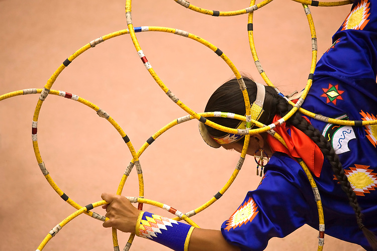 A Native American hoop dancer, Tony Duncan, at the Festival of American Indian Arts, Verde Valley, Arizona, USA