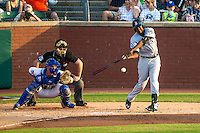 Gabby Guerrero (27) of the Jackson Generals bats during a game between the Jackson Generals and Chattanooga Lookouts at AT&T Field on May 8, 2015 in Chattanooga, Tennessee. (Brace Hemmelgarn/Four Seam Images)
