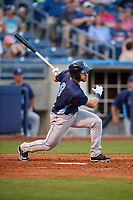 Corpus Christi Hooks right fielder Ramon Laureano (9) follows through on a swing during a game against the Tulsa Drillers on June 3, 2017 at ONEOK Field in Tulsa, Oklahoma.  Corpus Christi defeated Tulsa 5-3.  (Mike Janes/Four Seam Images)