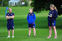 Bath Rugby Physiotherapist Cerian Parham and Head Performance Analyst Kate Burke look on. Bath Rugby pre-season training session on August 9, 2016 at Farleigh House in Bath, England. Photo by: Patrick Khachfe / Onside Images