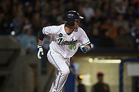 Hillsboro Hops catcher Zachary Jones (40) starts down the first base line during a Northwest League game against the Salem-Keizer Volcanoes at Ron Tonkin Field on September 1, 2018 in Hillsboro, Oregon. The Salem-Keizer Volcanoes defeated the Hillsboro Hops by a score of 3-1. (Zachary Lucy/Four Seam Images)