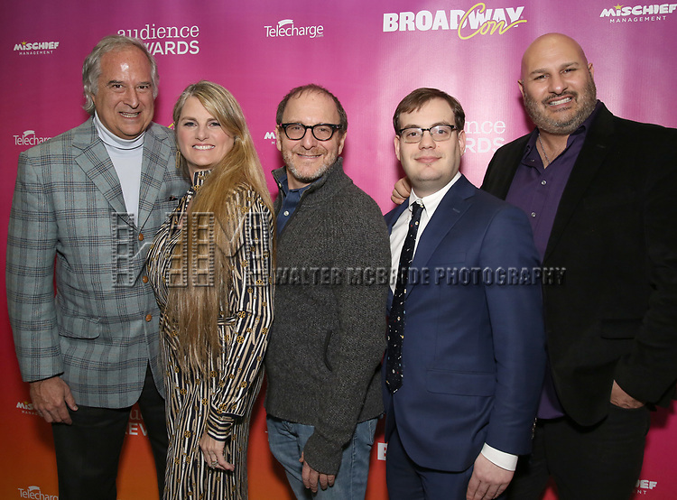 Stewart F. Lane, Bonnie Comley, Lonny Price, Hal Berman and Gio Messale attends the BroadwayHD panel discussion at Broadwaycom 2018 on January 26, 2018 at Jacob Javitz Center in New York City.