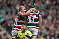 Luke Hamilton of Leicester Tigers congratulates team-mate Graham Kitchener  on his first half try. Aviva Premiership match, between Leicester Tigers and Sale Sharks on April 29, 2017 at Welford Road in Leicester, England. Photo by: Patrick Khachfe / JMP