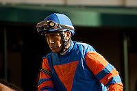 HALLANDALE BEACH, FL - FEBRUARY 04: Edgar Prado heads to the track. Scenes from Gulfstream Park,  at Gulfstream Park, Hallandale Beach, FL. (Photo by Arron Haggart/Eclipse Sportswire/Getty Images)
