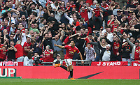 Manchester United's Alexis Sanchez celebrates scoring his side's first goal <br /> <br /> Photographer Rob Newell/CameraSport<br /> <br /> Emirates FA Cup - Emirates FA Cup Semi Final - Manchester United v Tottenham Hotspur - Saturday 21st April 2018 - Wembley Stadium - London<br />  <br /> World Copyright &copy; 2018 CameraSport. All rights reserved. 43 Linden Ave. Countesthorpe. Leicester. England. LE8 5PG - Tel: +44 (0) 116 277 4147 - admin@camerasport.com - www.camerasport.com