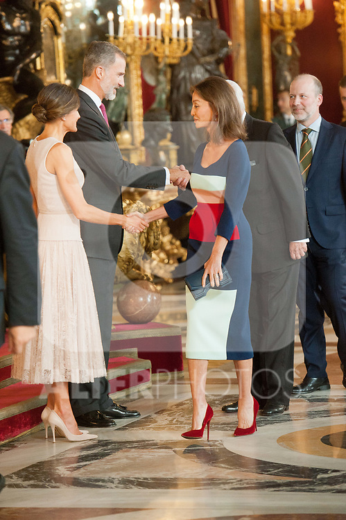 King Felipe VI of Spain and Queen Letizia of Spain, Isabel Preysler and Mario Vargas Llosa attends to Sapnish National Day palace reception at the Royal Palace in Madrid, Spain. October 12, 2018. (ALTERPHOTOS/A. Perez Meca)