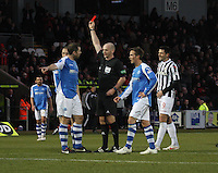 Steven Anderson gets a red card from referee Bobby Madden in the St Mirren v St Johnstone Clydesdale Bank Scottish Premier League match played at St Mirren Park, Paisley on 8.12.12.