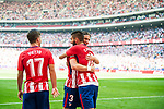 Yannick Ferreira Carrasco (r) of Atletico de Madrid celebrates  with teammate Filipe Luis during the La Liga 2017-18 match between Atletico de Madrid and Sevilla FC at the Wanda Metropolitano on 23 September 2017 in Madrid, Spain. Photo by Diego Gonzalez / Power Sport Images