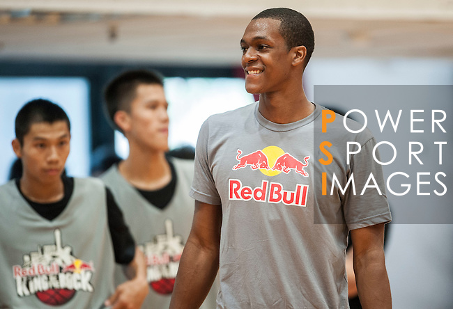 NBA's player and Red Bull athlete Rajon Rondo attends a clinic with local basket players ahead the Taiwan's King of the Rock on August 25, 2012 in Taipei, Taiwan. Photo by Victor Fraile / The Power of Sport Images