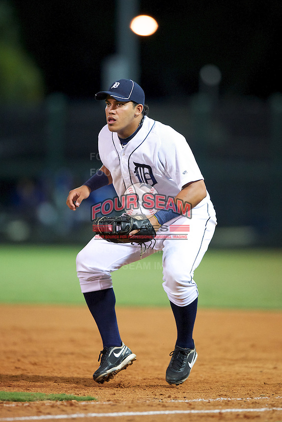 GCL Tigers Jose Soledad #14 during a Gulf Coast League game against the GCL Blue Jays at Joker Marchant Stadium on July 16, 2012 in Lakeland, Florida.  GCL Blue Jays defeated the GCL Tigers 4-3.  (Mike Janes/Four Seam Images)