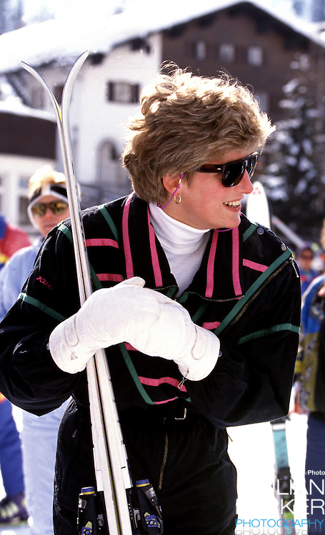 Diana,The Princess of Wales sking in Lech, Austria, during an annual ski holiday with her sons, Prince William, and Prince Harry
