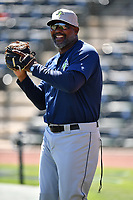 Pitching coach Jonathan Hurst of the Columbia Fireflies during the team's first workout of the season on Sunday, April 2, 2017, at Spirit Communications Park in Columbia, South Carolina. (Tom Priddy/Four Seam Images)