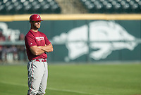 Hawgs Illustrated/BEN GOFF <br /> Luke Bonfield, senior utiltiy player, coaches Cardinal team Wednesday, Oct. 11, 2017, during the Arkansas baseball Fall World Series scrimmage at Baum Stadium in Fayetteville.