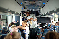 SAN JOSE, CA--Nneka Ogwumike gives teammate Joslyn Tinkle a new hairstyle upon arrival to the San Jose airport en route to Norfolk, VA for the first and second rounds of the 2012 NCAA tournament.