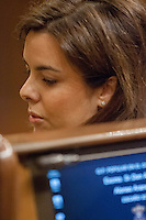 Soraya Saenz de Santamaria, representative of Spain Government speaks to opposition leader