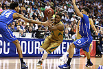 10 March 2016: Notre Dame's Demetrius Jackson (11) tries to move between Duke's Brandon Ingram (14) and Derryck Thornton (12). The University of Notre Dame Fighting Irish played the Duke University Blue Devils at the Verizon Center in Washington, DC in the Atlantic Coast Conference Men's Basketball Tournament quarterfinal and a 2015-16 NCAA Division I Men's Basketball game. Notre Dame won the game 84-79 in overtime.