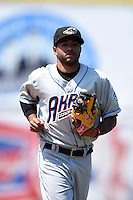 Akron RubberDucks third baseman Ronny Rodriguez (15) during a game against the Erie SeaWolves on May 18, 2014 at Jerry Uht Park in Erie, Pennsylvania.  Akron defeated Erie 2-1.  (Mike Janes/Four Seam Images)