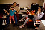 Long term unemployed family living on state benefits handouts Mountain Ash wales. The Bunny family father mother and children.1998 1990s