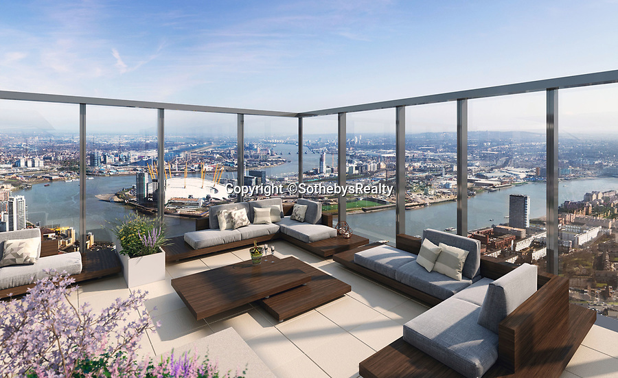 BNPS.co.uk (01202 558833)<br /> Pic: SothebysRealty/BNPS<br /> <br /> Capital views...<br /> <br /> Is this the best view in London ...<br /> <br /> A stunning apartment offering a breathtaking panorama of the nation's capital has emerged for sale for £900,000.<br /> <br /> The stylish one bedroom flat is located on the 43rd floor of the new-build 704ft Valiant Tower in South Quay Plaza in Canary Wharf.<br /> <br /> It overlooks Greenwich and the River Thames, with London's major landmarks on display.<br /> <br /> The building has a rooftop terrace, a swimming pool and a gym, and is surrounded by waterside gardens.<br /> <br /> The flat is being sold with estate agent Sotheby's International Realty.