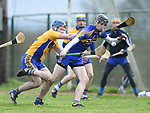 Colin Guilfoyle of  Newmarket  in action against Noel Purcell of  Sixmilebridge during their Clare Champion Cup final at Clonlara. Photograph by John Kelly.