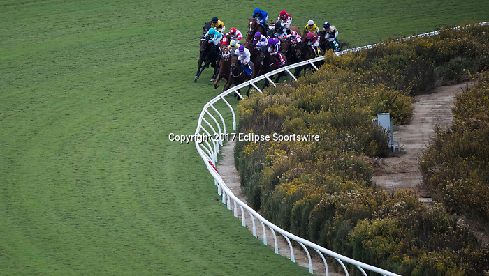 DEL MAR, CA - NOVEMBER 03: The pack of the the Breeders' Cup Juvenile Turf make the turn on Day 1 of the 2017 Breeders' Cup World Championships at Del Mar Thoroughbred Club on November 3, 2017 in Del Mar, California. (Photo by Ting Shen/Eclipse Sportswire/Breeders Cup)