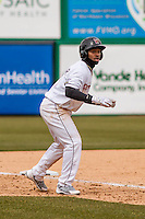 Wisconsin Timber Rattlers outfielder Troy Stokes (15) leads off third during a Midwest League game against the Beloit Snappers on April 10th, 2016 at Fox Cities Stadium in Appleton, Wisconsin.  Wisconsin defeated Beloit  4-2. (Brad Krause/Four Seam Images)