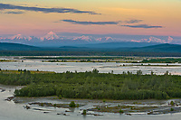 Mount Hayes and the Alaska Range mountains, Tanana River, near Delta Junction, Alaska
