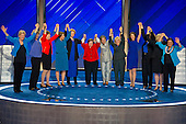 The Democratic Women of the US Senate raise their hands after making remarks during the fourth session of the 2016 Democratic National Convention at the Wells Fargo Center in Philadelphia, Pennsylvania on Thursday, July 28, 2016.   <br /> Credit: Ron Sachs / CNP<br /> (RESTRICTION: NO New York or New Jersey Newspapers or newspapers within a 75 mile radius of New York City)