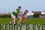 Jack Moran of Tralee CBS puts pressure on Aidan McGuane of St Flannan's in the Frewen Cup Final held last Wednesday in Croagh, Co. Limerick. ..
