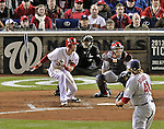 12 October 2012: Washington Nationals rookie outfielder Bryce Harper in action during Postseason Playoff Game 5 of the National League Divisional Series against the St. Louis Cardinals at Nationals Park in Washington, DC. The Cardinals rallied with four runs in the 9th inning to defeat the Nationals 9-7; thus winning the NLDS and moving on to the NL Championship Series. Mandatory Credit: Ed Wolfstein Photo