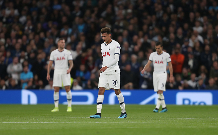 Dejection for Spurs<br /> <br /> Photographer Rob Newell/CameraSport<br /> <br /> UEFA Champions League Group B  - Tottenham Hotspur v Bayern Munich - Tuesday 1st October 2019 - White Hart Lane - London<br />  <br /> World Copyright © 2018 CameraSport. All rights reserved. 43 Linden Ave. Countesthorpe. Leicester. England. LE8 5PG - Tel: +44 (0) 116 277 4147 - admin@camerasport.com - www.camerasport.com