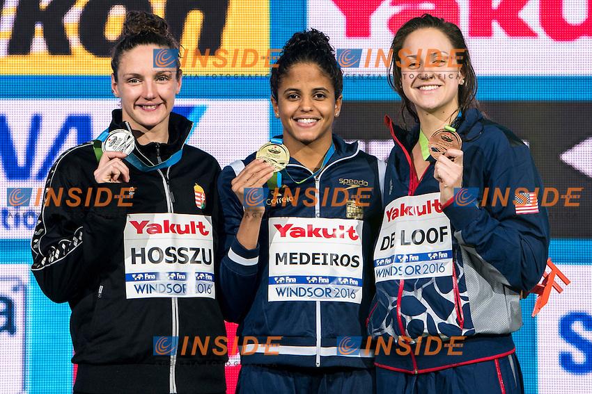 MEDEIROS Etiene BRA Gold Medal<br /> HOSSZU Katinka HUN Silver Medal<br /> DE LOOF Alexandra Margaret USA Bronze Medal<br /> Women's 50m Backstroke<br /> 13th Fina World Swimming Championships 25m <br /> Windsor  Dec. 10th, 2016 - Day05 Final<br /> WFCU Centre - Windsor Ontario Canada CAN <br /> 20161210 WFCU Centre - Windsor Ontario Canada CAN <br /> Photo &copy; Giorgio Scala/Deepbluemedia/Insidefoto