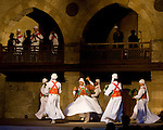 "Cairo, Egypt -- The Sufi Dervish sect puts on a ""whirling dervish"" dance show every few nights at the Wikala al-Ghouri (the Ghourija). Accompanied by Arabic music and song, the dance is actually a religious observance, commanding total focus and movement to honor and commend devotion to the one true God. © Rick Collier / RickCollier.com"