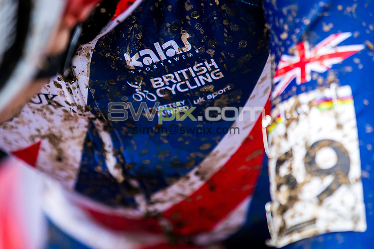 Picture by Alex Whitehead/SWpix.com - 04/02/2018 - Cycling - 2018 UCI Cyclo-Cross World Championships - Valkenburg, The Netherlands - Great Britain, Branding, Kalas, HSBC UK, Mud.