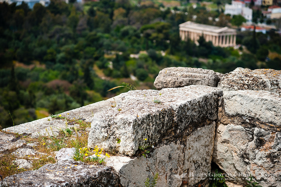 Greece, Athens. The Propylaea is the entrance to the Acropolis. Temple of Hephaestus in the background.